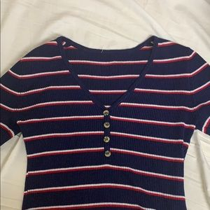 LULU's stripped navy red white long sleeve shirt!